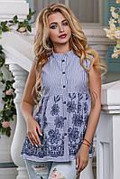 Летняя блузка туника из хлопка в полоску с вышивкой 44-50 размера