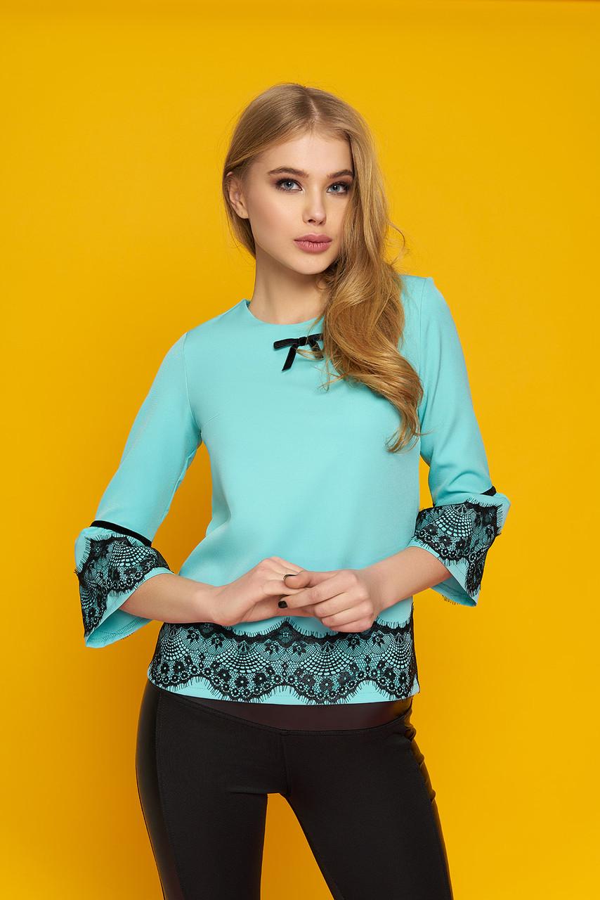 """Женская элегантная блуза """"Кристи"""" с кружевными настрочками (минт)"""
