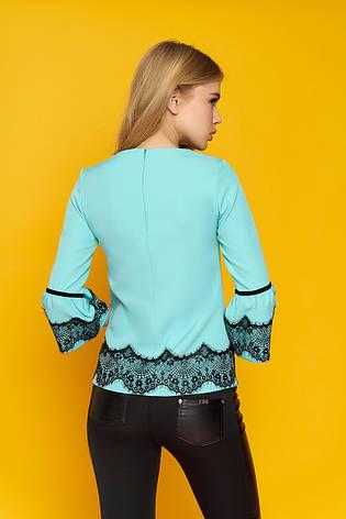 """Женская элегантная блуза """"Кристи"""" с кружевными настрочками (минт), фото 2"""