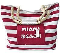 Сумка пляжная из ткани бордовая полоска CМT-067000, фото 1