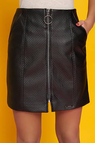 """Женская коротка юбка """"Номи"""" из экокожи (черный), фото 2"""