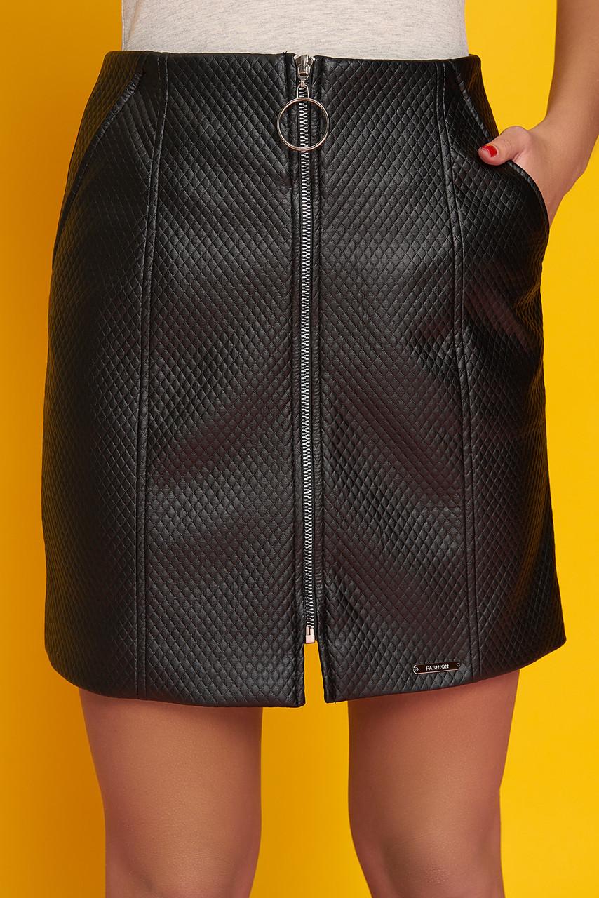 """Женская коротка юбка """"Номи"""" из экокожи (черный)"""