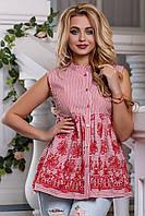 Летняя блузка туника из хлопка в полоску с вышивкой 44-50 размера, фото 1