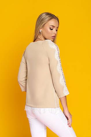"""Стильная женская блуза """"Долорис"""" с настрочным французским кружевом (бежевая), фото 2"""