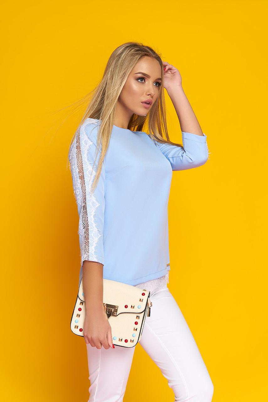 """Стильная женская блуза """"Долорис"""" с настрочным французским кружевом (голубой)"""
