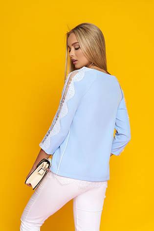 """Стильная женская блуза """"Долорис"""" с настрочным французским кружевом (голубой), фото 2"""