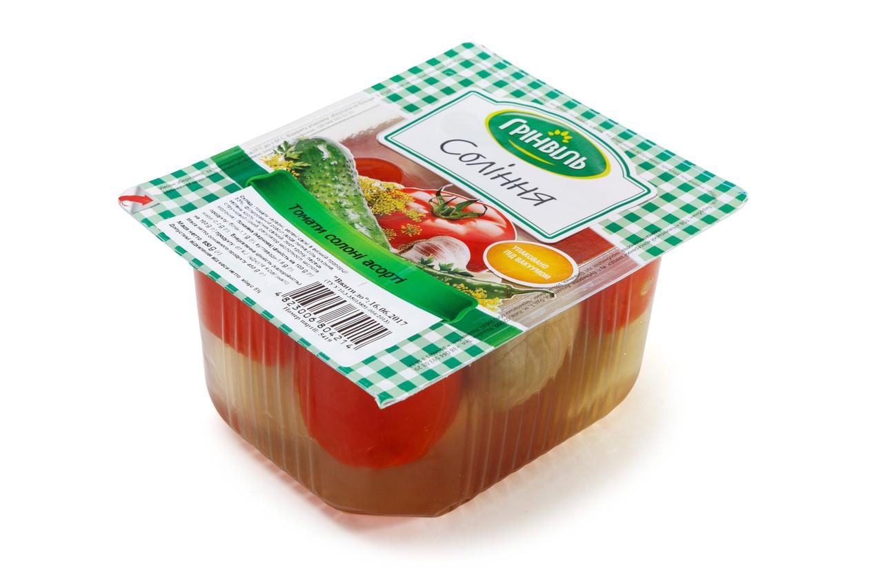 Томати Грінвіль 6шт по 450г солені Асорті червоні та зелені