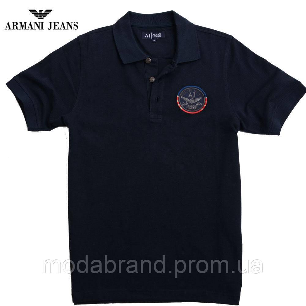 Футболка мужская стильная Armani-172 темно-синяя -
