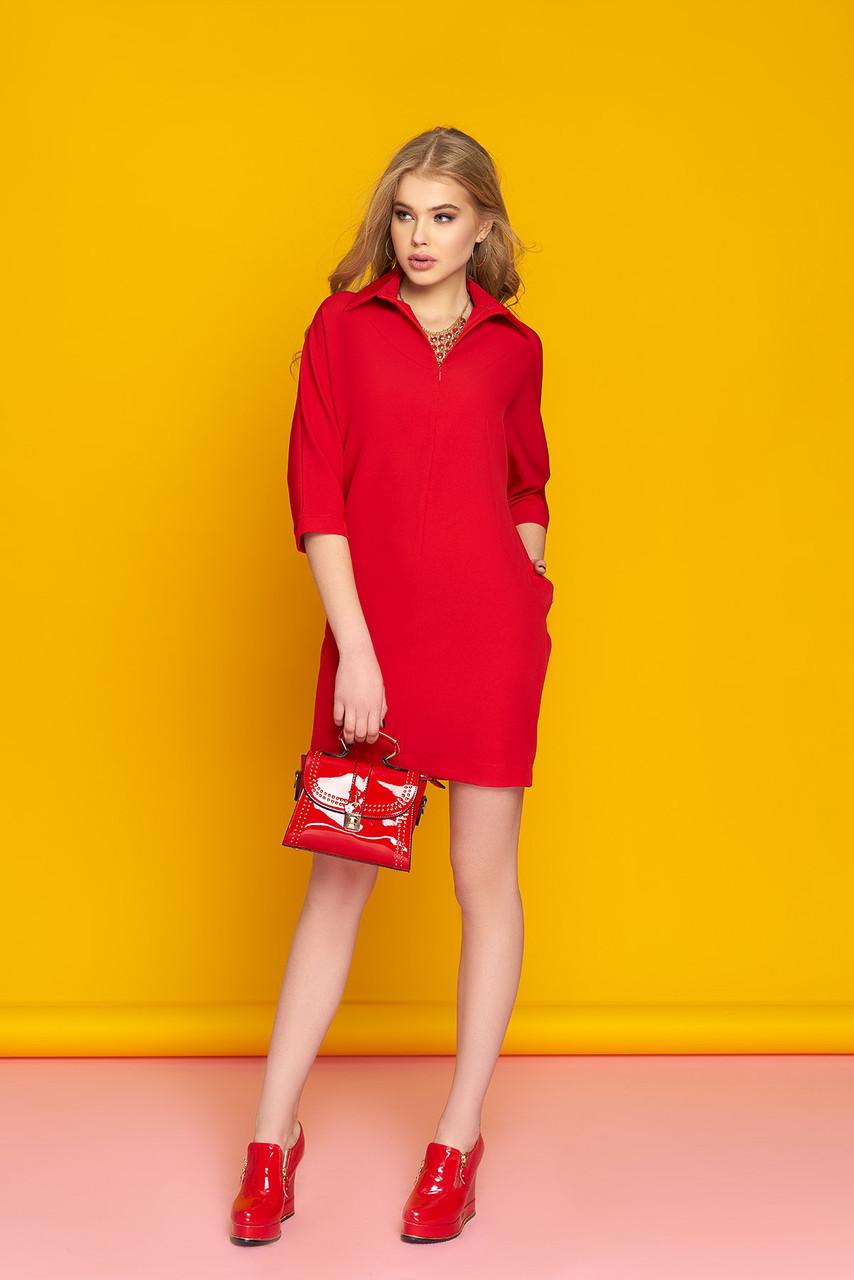 """Модное платье """"Стефани"""" (красное) с рукавами """"летучая мышь"""""""
