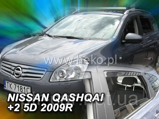 Дефлекторы окон (ветровики) NISSAN QASHQAI  +2   2008r->2013 (HEKO)