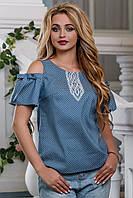Модна блузка літня з річного котону з відкритими плечима 42-48 розміру, фото 1