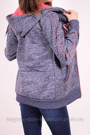 Кофта женская спортивная на флисе (цв.синий) Godsend E-8838 Размер:44,46, фото 2