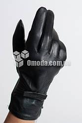 Кожаные женские перчатки ( строчки+бант)