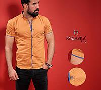 Мужская оранжевая приталенная тенниска , фото 1