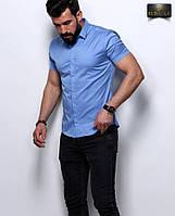 Мужская синяя приталенная тенниска , фото 1