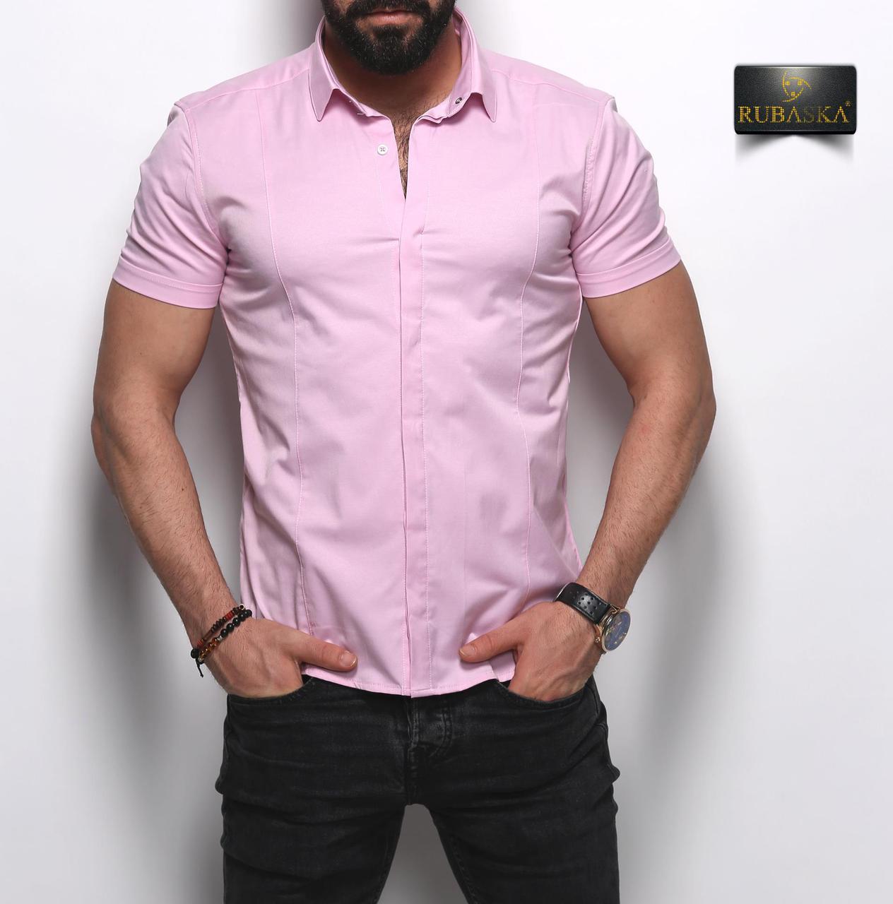 Мужская розовая приталенная тенниска