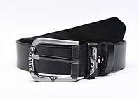 Мужской кожаный ремень Armani Jeans (универсальный, натуральная черная кожа)