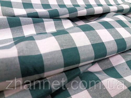 Ткань для скатерти в клетку Весна зеленый