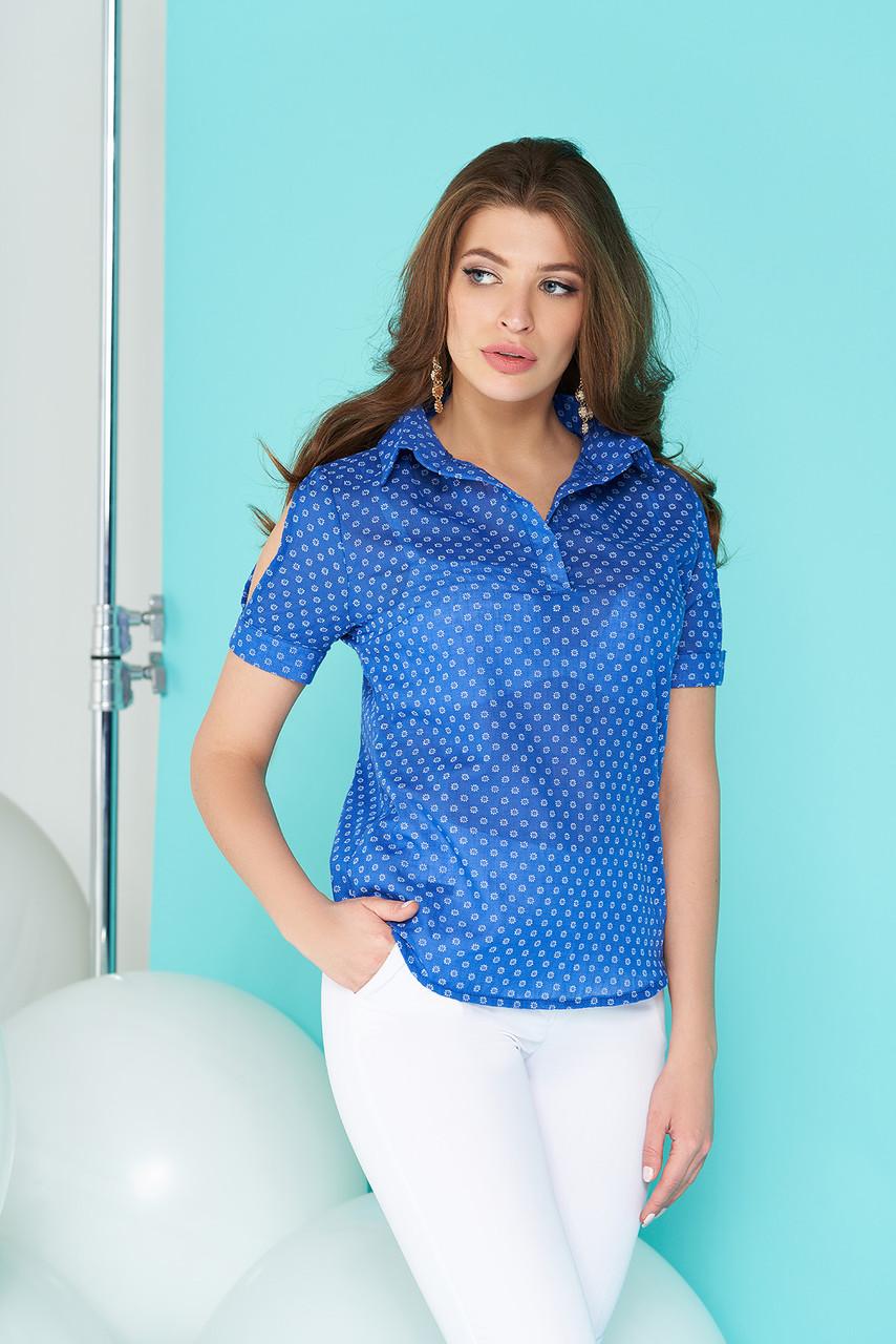 """Женская полупрозрачная рубашка """"А-83"""" (синяя)"""