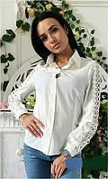 Рубашка с ажурными рукавами из дорогого кружева  костр7787, фото 1