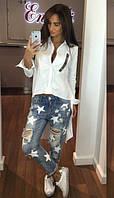 Блуза коттоновая с отделкой  костр7733, фото 1