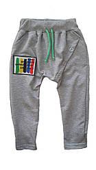 Спортивные брюки на завязках с пуговицами серые