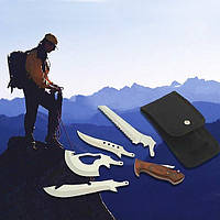 Туристический набор 4 в 1, 4 лезвия (охотничий нож, кинжал, пила, топор)