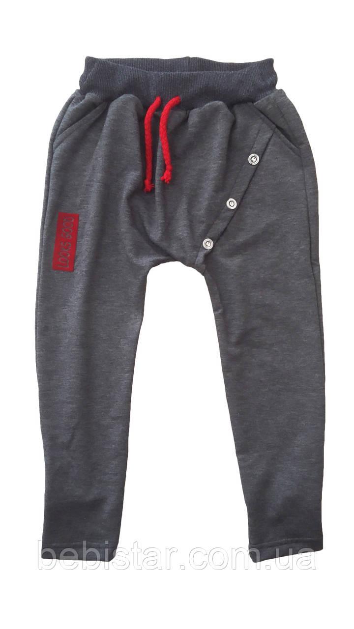 Спортивные брюки на завязках с пуговицами темно-серые