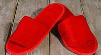 Тапочки гостевые EURO TEXTILE велюровые (открытый мыс) красные для дома, офиса, гостиниц и SPA.