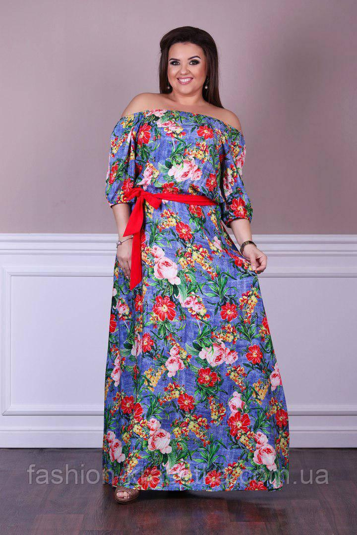 Летнее нарядное платье в пол в размерах 48-54