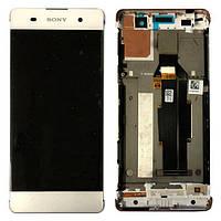 Дисплей (экран) для Sony F3111 Xperia XA/F3112/F3113/F3115/F3116 + тачскрин, белый, с передней панелью