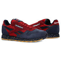 Мужские кроссовки Reebok Classic Leather SM Blue/Red РЕПЛИКА