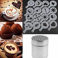 Творческий трафарет для кофе, горячего шоколада капучино и другого из 16 шт, фото 1