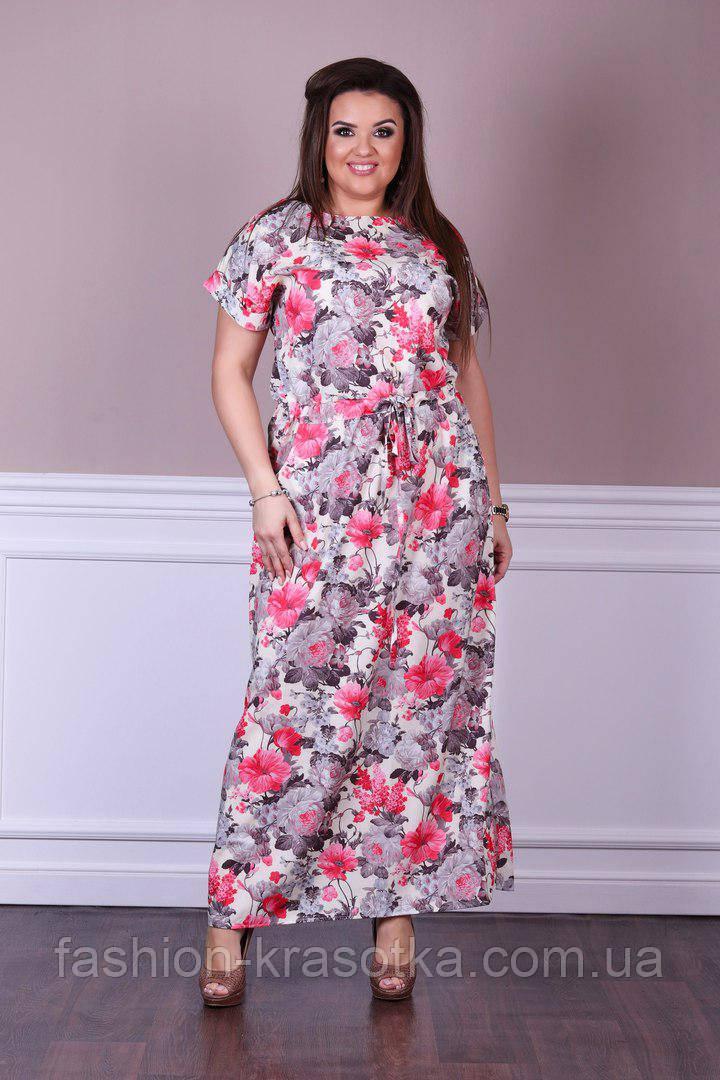 Модное  женское летнее длинное платье в размерах 50-58