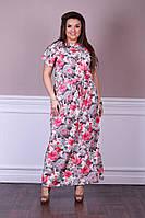 Модное  женское летнее длинное платье в размерах 50-58, фото 1