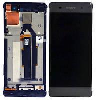 Дисплей (экран) для Sony F3111 Xperia XA/F3112+тачскрин, серый, Graphite Black, с передней панелью, оригинал