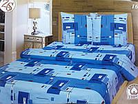 """Полуторное постельное белье """"Абстракция на синем"""""""