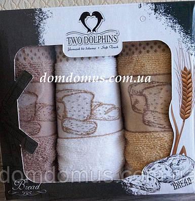 """Набор махровых кухонных полотенец """"Bread"""" 30*50 см TW DOLPHINS 3 шт., Турция 029"""