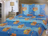 """Полуторное постельное белье """"Абстракция на голубом"""""""