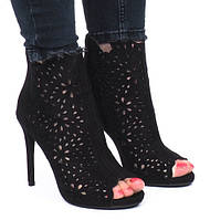 Женские туфли с открытым носком на лето со змейкой сзади