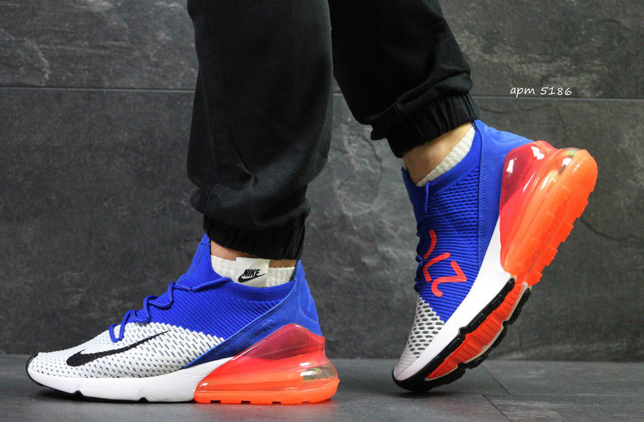 Летние мужские кроссовки Nike Air Max 270,белые с синим