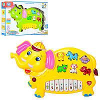Пианино 855-3A слоник, 30 см, муз, звук, свет,  2 цвета, на батарейке, в коробке, 35,5-24-6 см