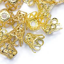 Конус Шапочки для Бусин, Железные, Цветок, Цвет: Золото, Размер: 9х8мм, Отверстие 1.2мм, (УТ0010111)