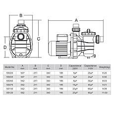 Насос Emaux SS075 (220В, 13 м³/час, 0.75HP), для бассейнов объёмом до 52 м3, фото 2