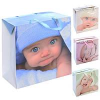 """Пакет-коробка бумажный подарочный """"Кроха"""" 27*20*13см 12шт/уп микс N00507 (360шт)"""