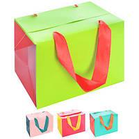 """Пакет-коробка бумажный подарочный """"Bright"""" 27*20*13см 12шт/уп микс N00504 (360шт)"""