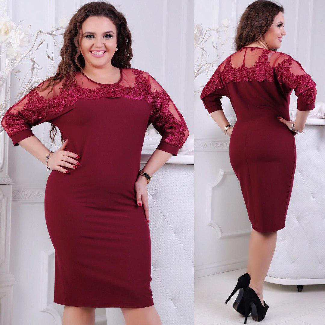 Платье  больших размеров 50+  декорировано кружевом / 4 цвета   арт 4966-507
