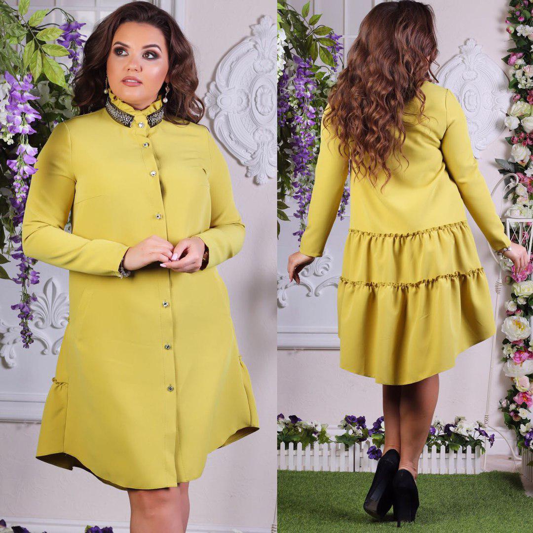 Платье  больших размеров 50+ на пуговицах с декором на воротнике  арт 4971-507