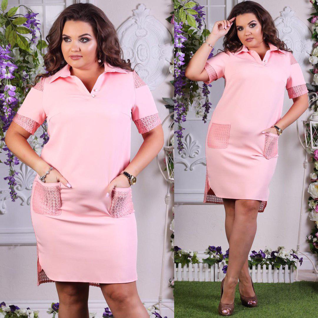 Платье  больших размеров 50+  с рубашечным воротничком, на спине гипюр / 4 цвета  арт 4972-507