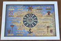 Картина часы морские узлы под стеклом 4733, 47 см * 33 см, белые, Одесса